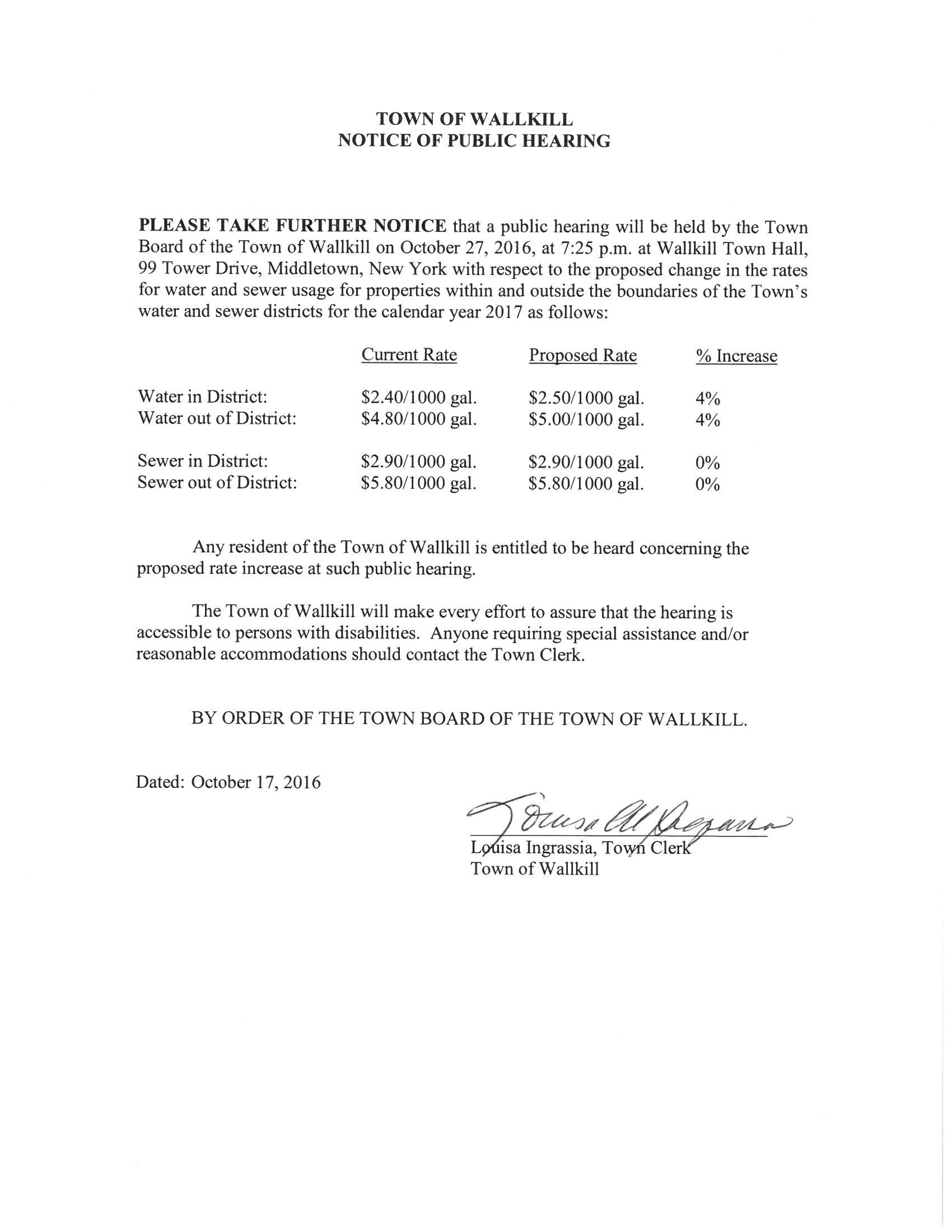 Public Hearing Water Rates