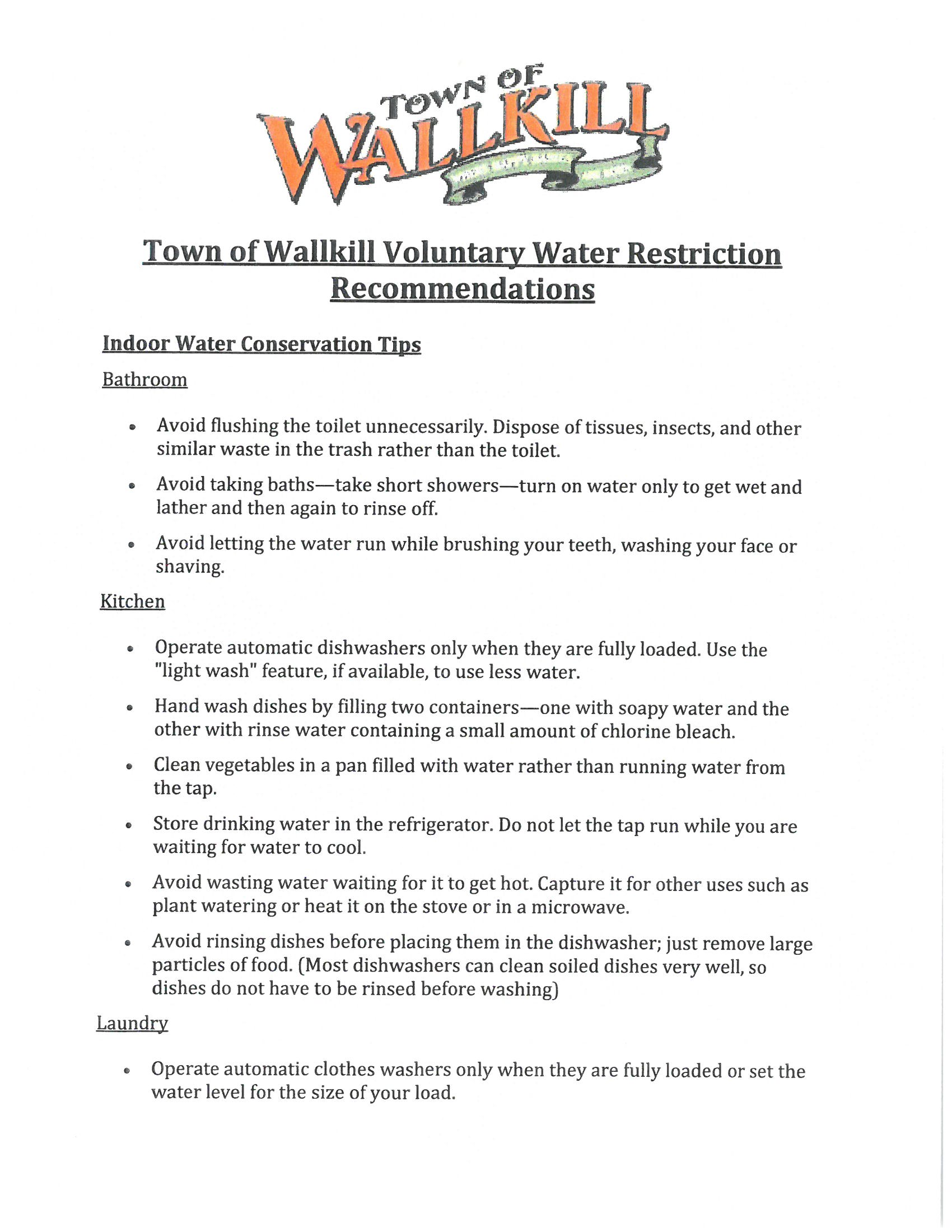 Voluntary Water Restrictions 2